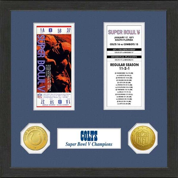 Super Bowl V replica ticket, Baltimore Colts schedule and scores from their season Commemorative solid bronze coins
