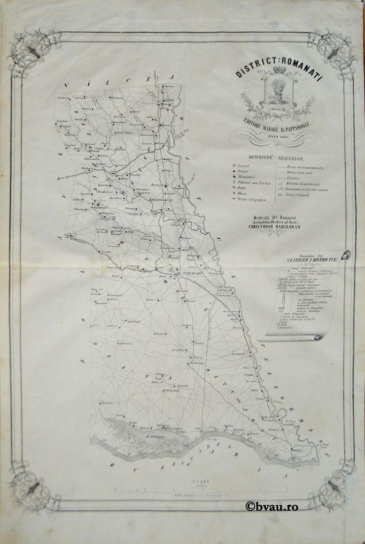 """Districtul Romanati, întocmit şi editat de Maior D. Pappasoglu, 1864. Imagine din colecțiile Bibliotecii """"V.A. Urechia"""" Galați."""