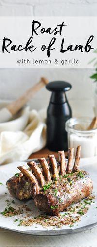 Roast Rack of Lamb with Lemon and Garlic #lambracks #lambroast #roastlamb