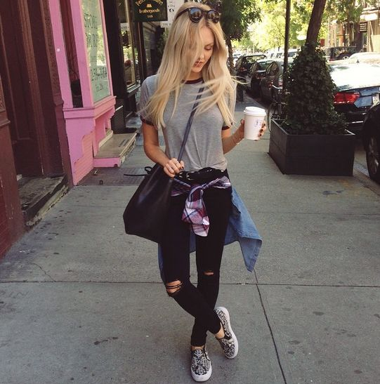 Black skinny jeans , gray t shirt , flannel , vans