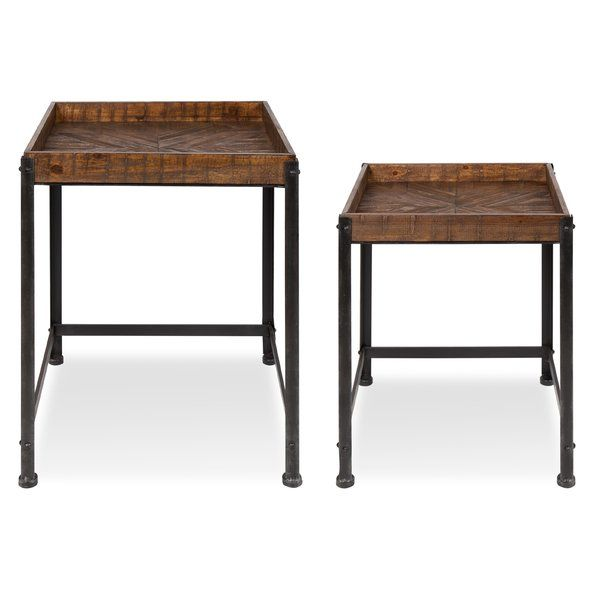 Malachy Rustic Modern Side Accent 2 Piece Nesting Tables Wood