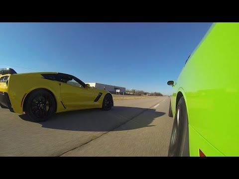 2015 C7 Z06 vs 2015 Challenger Hellcat vs 2014 GT500 - YouTube - Oh Shi.! Jus Watch
