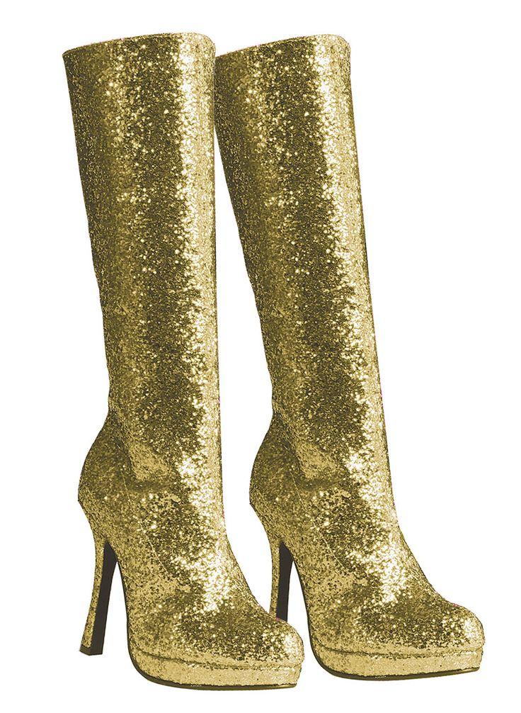 glitter gold boots