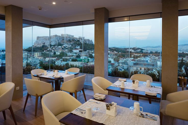 Breakfast and dining area at Metropolis Roof Garden - Electra Metropolis Athens hotel.
