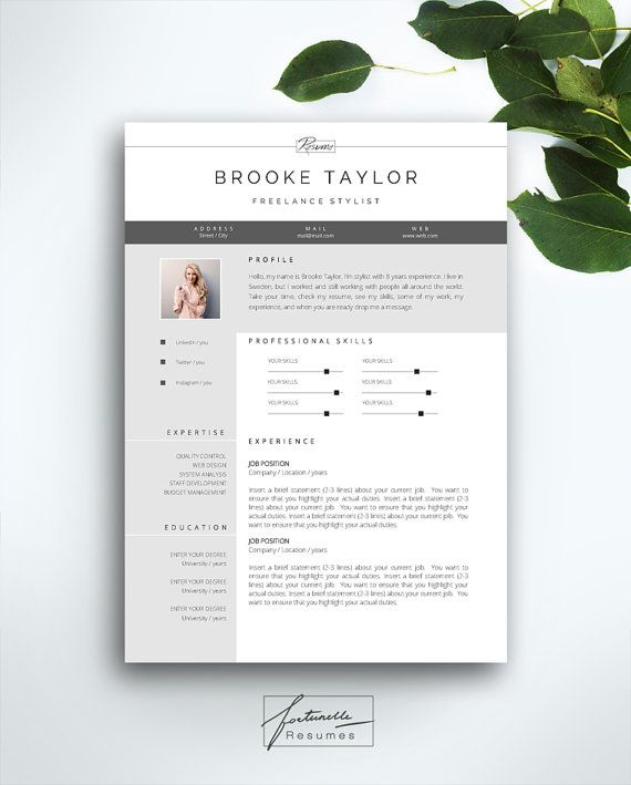 "Resume Template 3 page / CV Template + Cover Letter / Instant Download for MS Word / ""Brooke"""