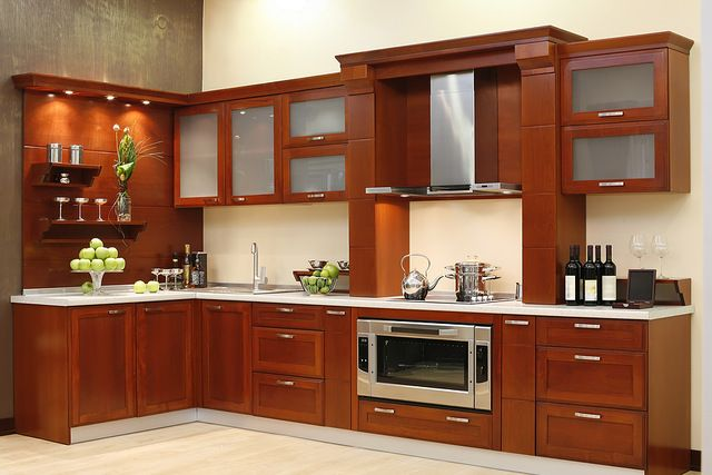 Por encargo de madera sólida gabinete de cocina ( AGK-114 )