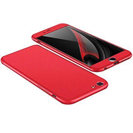 Custodia iPhone 7 , 360 Gradi della copertura completa 3 in 1 Hard PC Case Cover Stilosa Protettiva Bumper Antiurto Antigraffio Posteriore Copertura per iPhone 7 (rosso)
