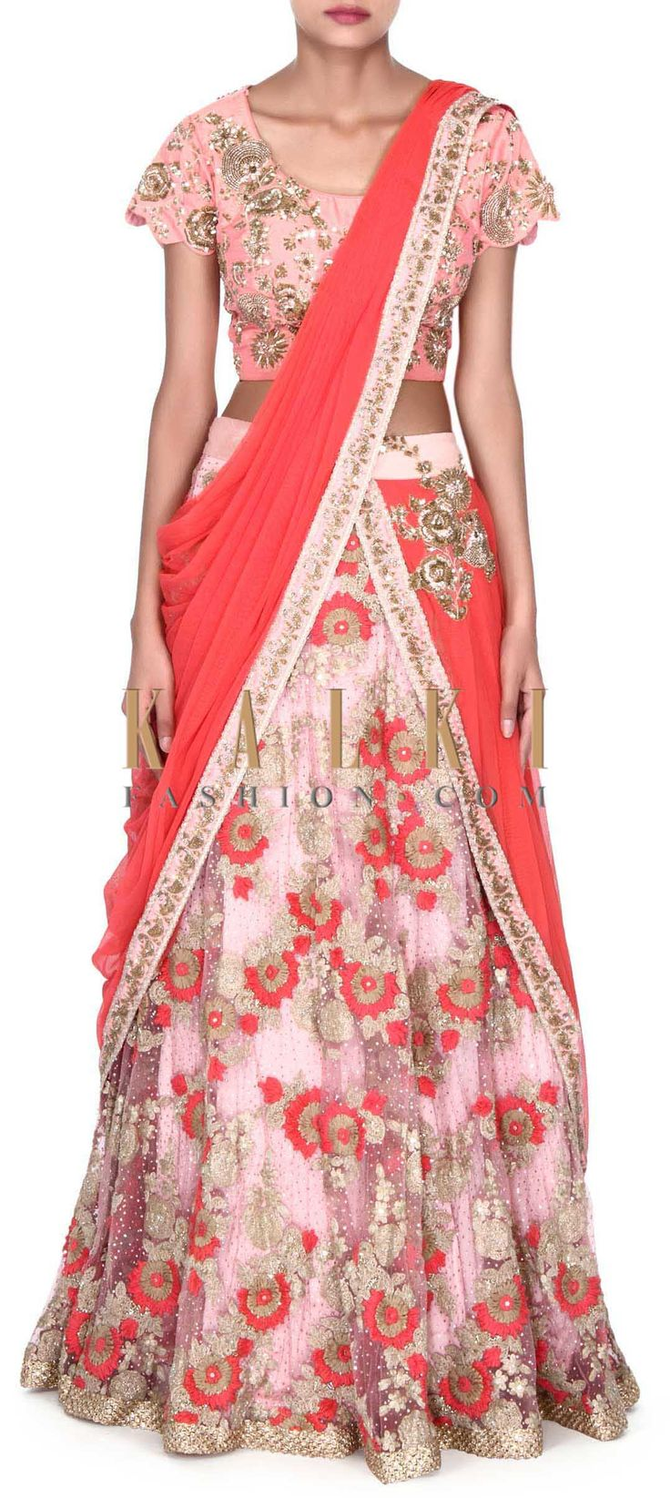 Buy this Pink lehenga enhanced in attach dupatta only on Kalki