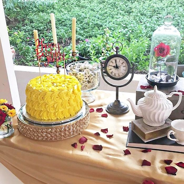 Beauty and the beast dessert table for Beauty and beast table decorations