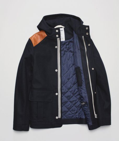 Norse Projects, Asger wool jacket.  Great Contrast Lining - Leather Shoulders remind me of a Varsity Jacket