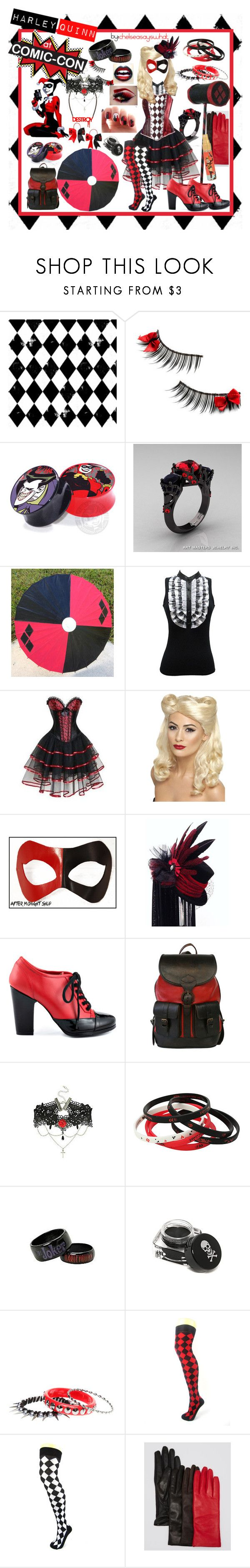 """Harley Quinn - Comic-con Outfit"" by chelseasayswhat ❤ liked on Polyvore featuring Topshop, Hot Topic, Dolce Cabo, Masquerade, Kelsi Dagger Brooklyn, Beara Beara, U
