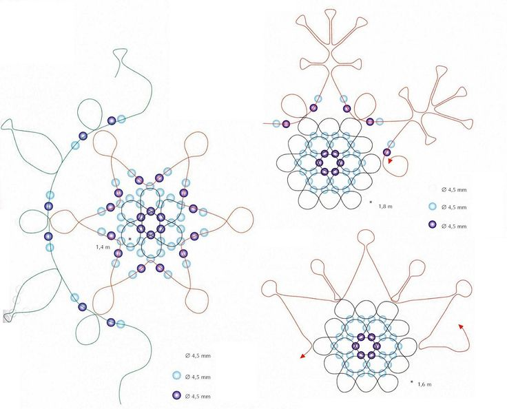 schema for blue & white beaded snowflakes - see link for supplies