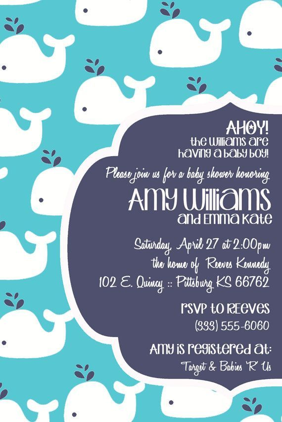 whale baby invitations | Modern Whale Baby Shower Invitation MULTIPLE by OhHappinessCards, $11 ...
