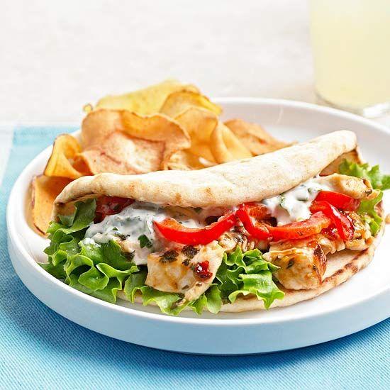 Skillet Chicken Salad Pitas: Chicken Recipes, Skillet Chicken, Pita Recipes, Chicken Salads, Skillets Chicken, Chicken Pita, Chickensalad, Salad Pita, Summer Recipes