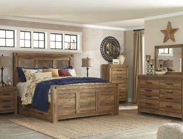 Ladimier Medium Brown Queen Mansion Bed
