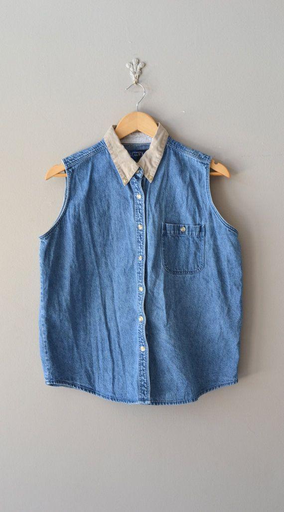 sleeveless denim shirt / collared denim top / vintage Ally top