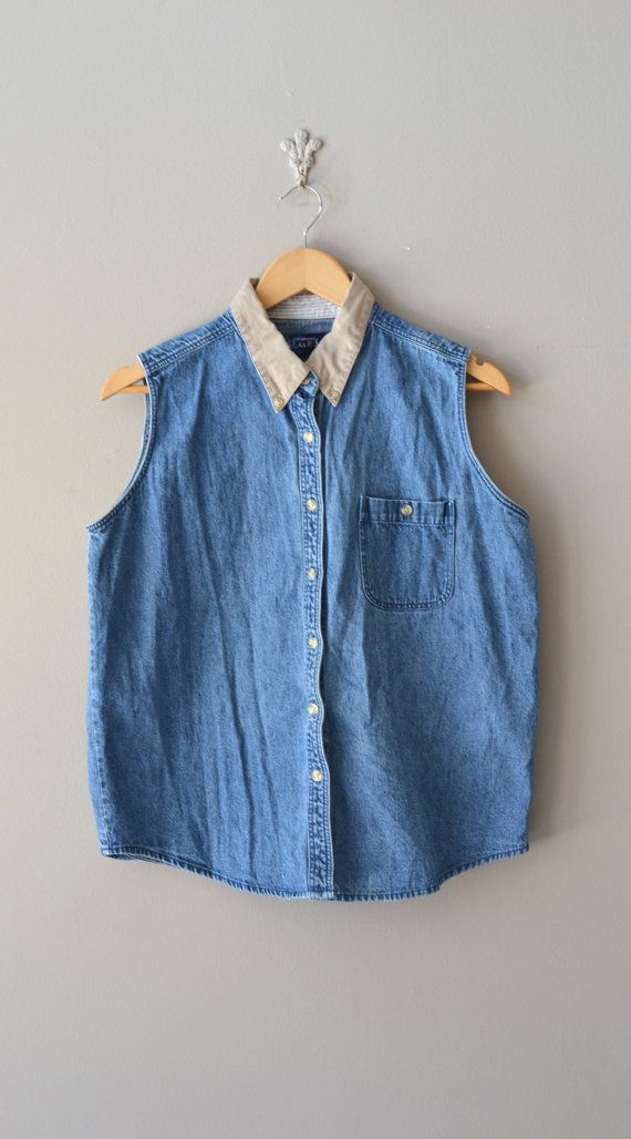 sleeveless denim shirt / collared denim top / Ally top
