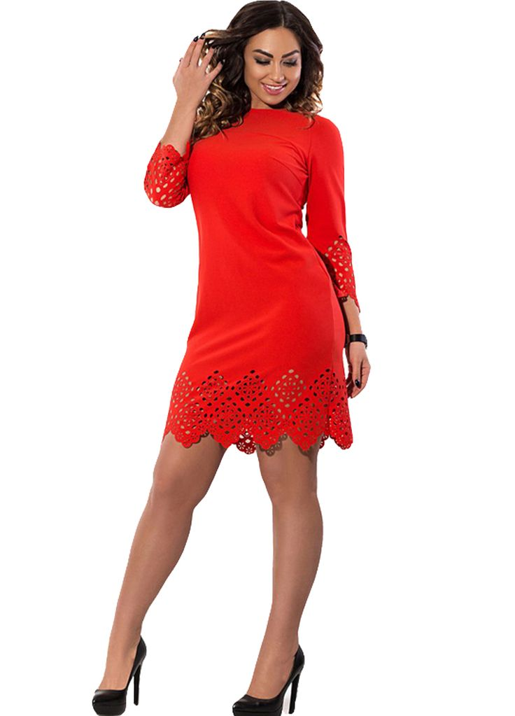 Crochet Lace Sleeved Big Size Women Dress_Plus size Dress_Plus size Clothing_Sexy Lingeire | Cheap Plus Size Lingerie At Wholesale Price | Feelovely.com