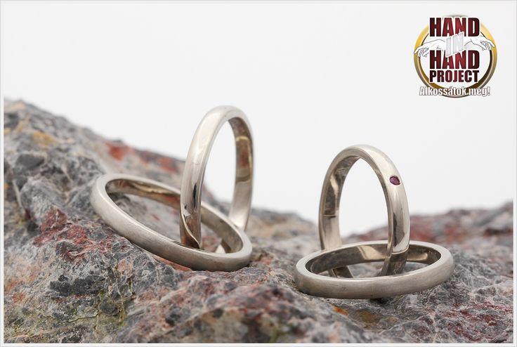 14 karátos fehér arany dupla jegygyűrűk saját kezűleg.