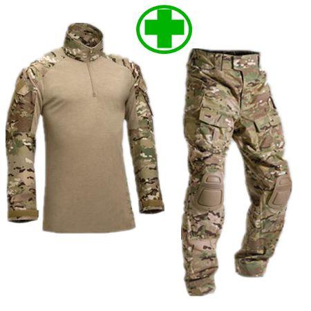 Barato Camuflagem tático uniforme Militar terno exército roupas de caça Militar de combate + carga calças de joelho, Compro Qualidade Médico diretamente de fornecedores da China:                 Uniforme militar de camuflagem roupas: toda