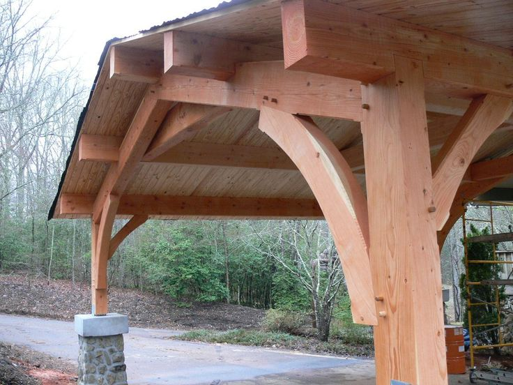 Carport deck plans how to made wooden carport plans for Timber frame porch designs