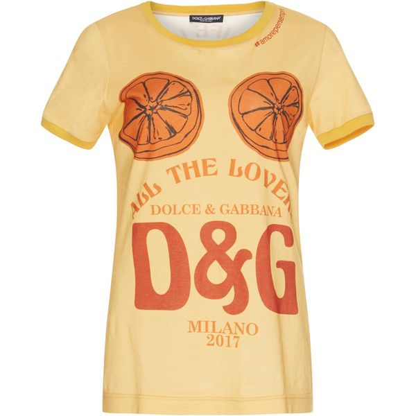 Dolce & Gabbana D&G Logo Printed Cotton T-Shirt (€335) ❤ liked on Polyvore featuring tops, t-shirts, yellow, graphic tops, graphic print t shirts, beige t shirt, beige top and graphic print tees