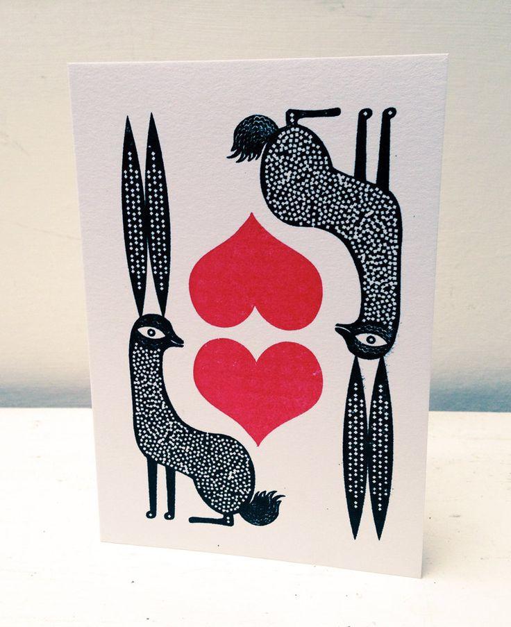 Carta di San Valentino di lepre di LesleyToast su Etsy https://www.etsy.com/it/listing/177393774/carta-di-san-valentino-di-lepre