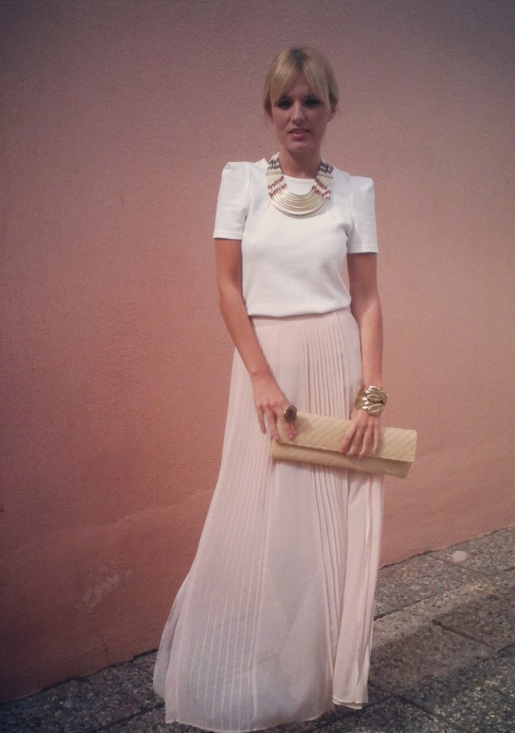 Long Pink Skirt #outfit  , Zara (new collection) in Skirts, Zara in Shirt / Blouses, Zara in Jewelry, Brigitte Bijous in Jewelry, Brigitte Bijous in Jewelry