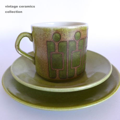 Rainforest Green Crown Lynn Kelston Ceramics Vintage Retro Trio CUP Saucer Plate | eBay