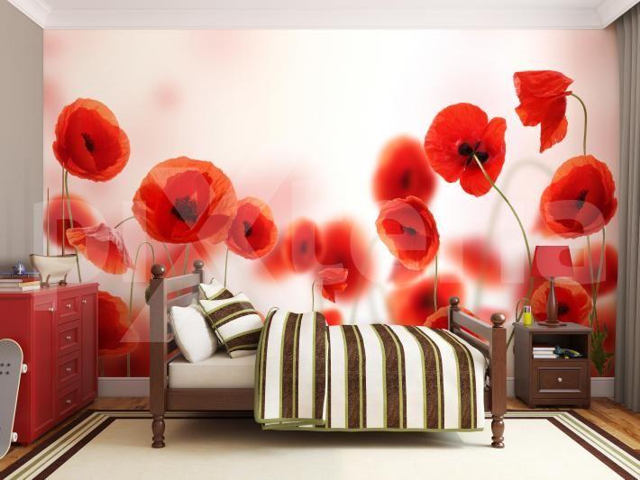 Fototapete rote Mohnblummen im Schlafzimmer - Fototapeten, Poster, Aufkleber für Schlafbereich