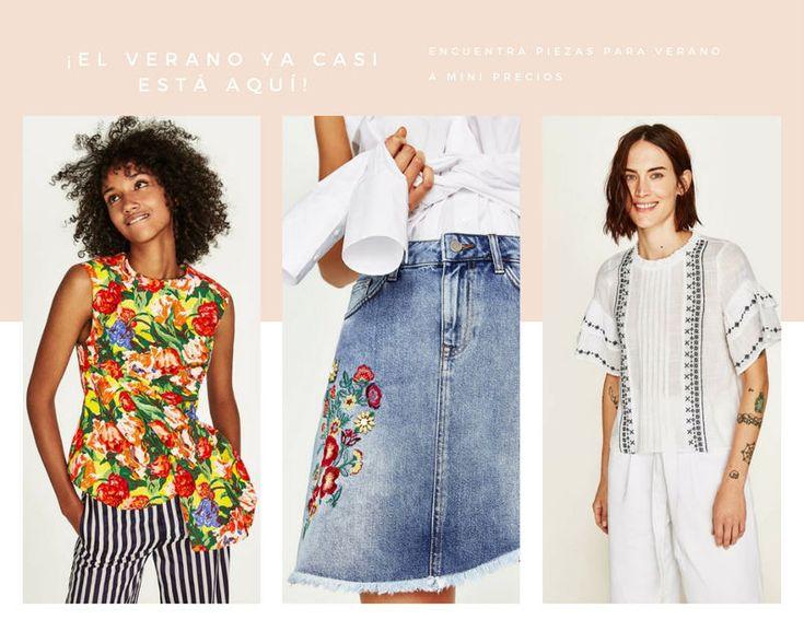 5 consejos y 15 prendas de ropa de Zara para triunfar en rebajas Prendas de ropa para verano. Blusa floral estampada sin mangas. Falda vaqueta con flores delanteras. Blusa de lino con estampado.