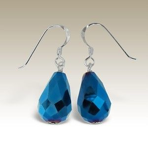 Blue Crystal Silver Earring A$15