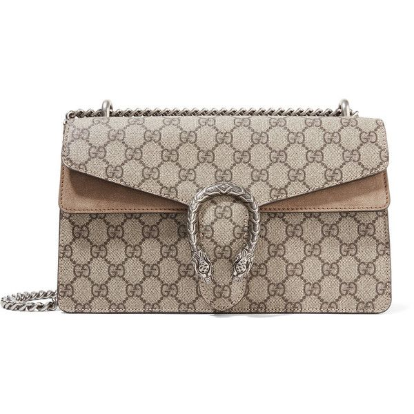 Gucci Dionysus small coated-canvas and suede shoulder bag (14 735 SEK) ❤ liked on Polyvore featuring bags, handbags, shoulder bags, beige, chain shoulder bag, monogrammed tote bags, handbags totes, gucci tote bag and tote handbags