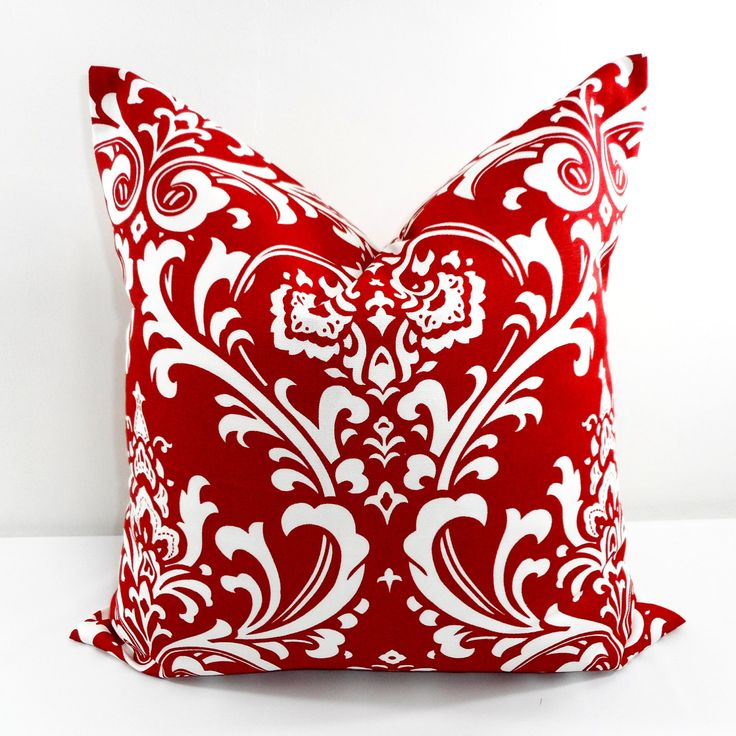 Red Pillow. Damask Red and white. Red Cushion Cover. Christmas Decor. Sham Pillow Cover.  Sham Pillow case. Select your size. by TwistedBobbinDesigns on Etsy