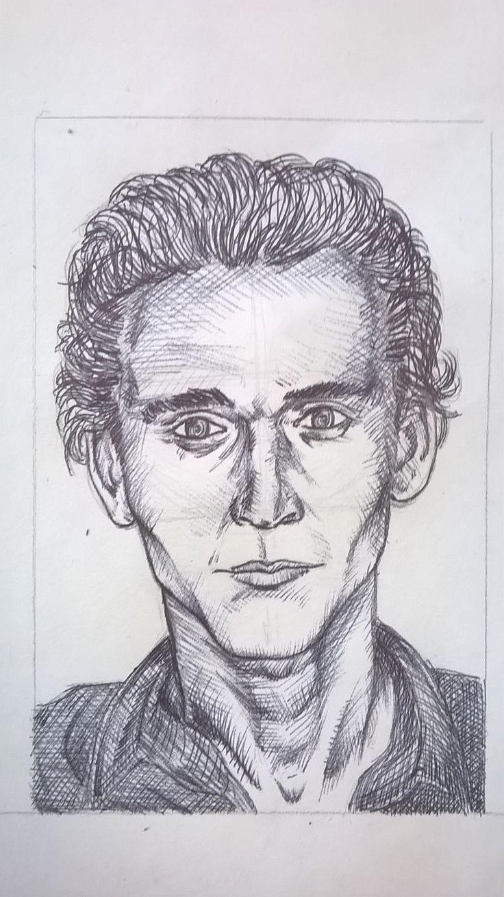Caricatura di Tom Hiddleston, penna - Drawing of Tom Hiddleston, pen