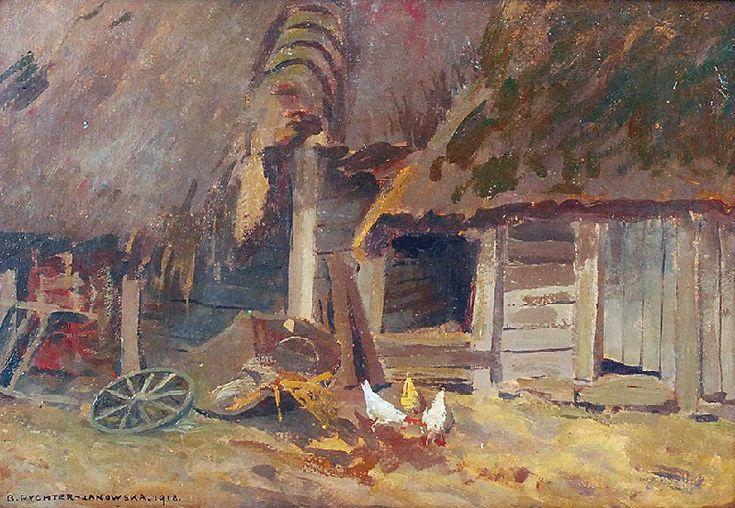 Bronisława RYCHTER JANOWSKA (1868-1953)  Wiejskie podwórko, 1918 olej, tektura; 24 x 34 cm;