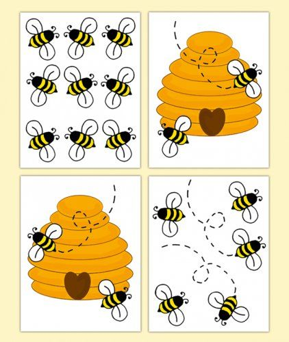 Honey Bumble Bee Hive Wall Art Decals Baby Nursery Decor Decampstudios