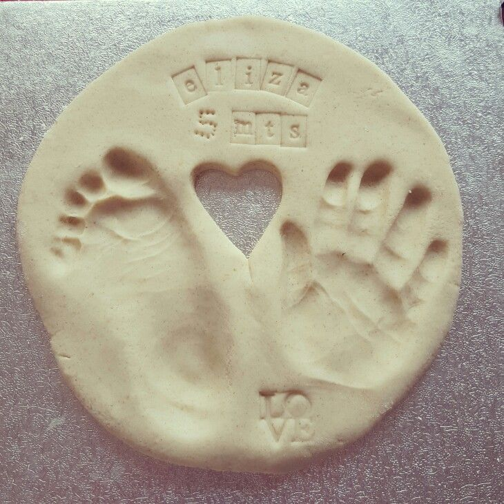 Salt Dough plaque with baby hand and footprints