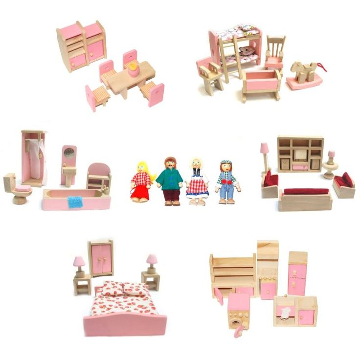 1000 ideas about dollhouse furniture sets on pinterest Wooden baby doll furniture