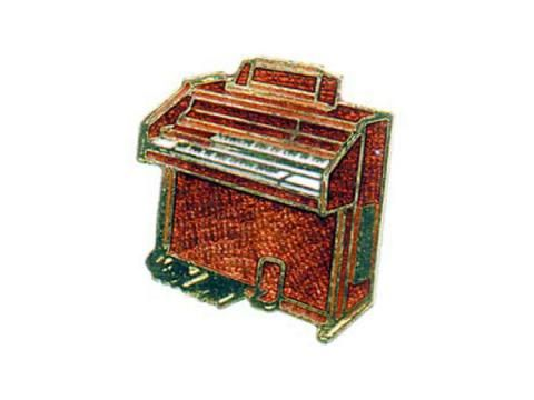 Brooch - Organ - BC Wholesalers. Brooch featuring a Enamelled Electric Organ. Made in England.
