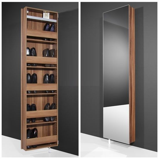 Features : • Rotating shoe cabinet with a mix of walnut & mirror• Quality full length glass Mirror front with a walnut frame • Multi-Purpose unit can be used as a cabinet with ad...