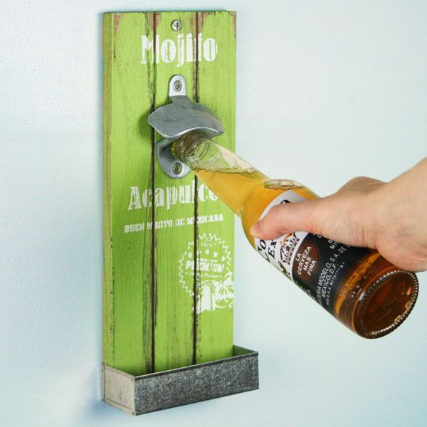 Mexican Style Wall Mounted Bottle Opener 30cm Mojito Acapulco Wooden Cap Catcher