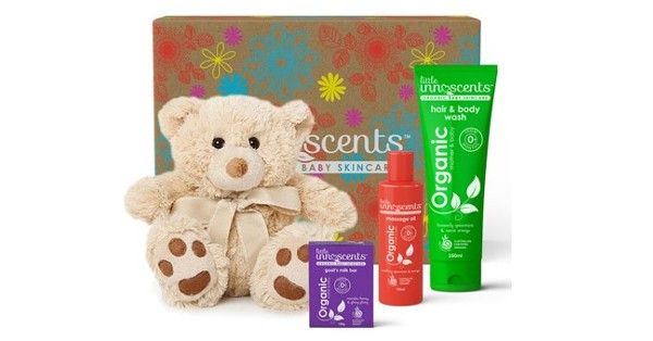 Newborn Organic Gift Box - The Little Innoscents Newborn Organic gift box is an ideal gift for those beautiful newborn babies. The Newborn gift box contains our three most popular products including the family favourite Hair & Body Wash. Wrapped up in a beautiful box with a red organza ribbon and accompanied with a gorgeous teddy bear; you know your newborn will be safe and happy, naturally. Contains: 1 – Hair & Body Wash 1 – Organic Soap Bar 1 – Massage Oil (50ml) 1 – Teddy bear