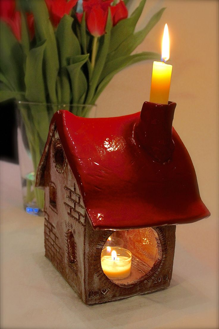Keramik Haus auch als Windlicht und Kerzenständer zu verwenden  Made by IVI 2016
