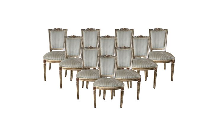 Galimberti Lino Neoclassical Italian Dining Chairs Set