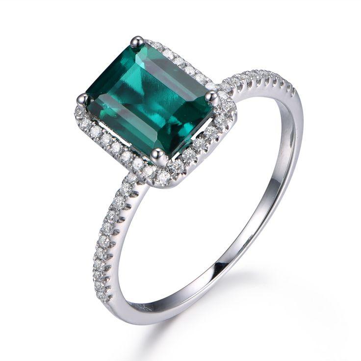 MYRAY Klassische Smaragd Verlobungsring Birthstone Ring, 6x8mm Smaragd-schnitt Behandelt Smaragd, Gold, Diamant Band, Braut Hochzeit Ring