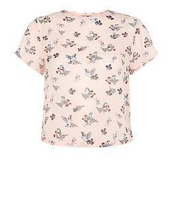Teens Pink Bird Print Chiffon Boxy T-Shirt | New Look