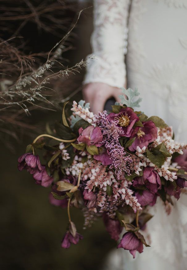 Purple bouquet for the rustic wedding