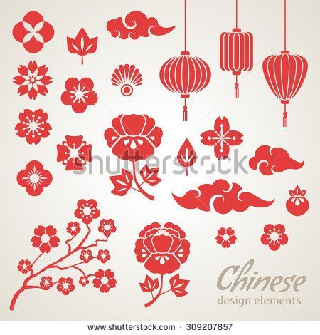 Chinese Decorative Icons, Clouds, Flowers and Chinese Lights. Vector…