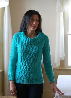 Ravelry: Proud Mary pattern by Mary Annarella.  Aran weight sweater with option for raglan sleeves or continuous set-sleeves.  Top-down.